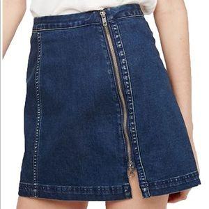 50% We the Free denim skirt off center zip dark